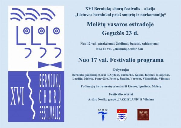 """Molėtuose vyks XVI festivalis – akcija """"Lietuvos berniukai prieš smurtą ir narkomaniją"""""""